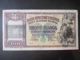 Rare! Albania 100 Franga 1945 Banknote Overprint Italian Occupation WWII - Albanië