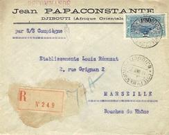 """1929- Enveloppe RECC. De Djibouti  Par """" S/S Compiègne """"  Affr. N° 118 SEUL  Pour Marseille - Côte Française Des Somalis (1894-1967)"""