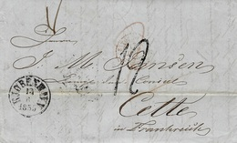 1855- Letter From Copenhagen To Cette ( South Of France ) Rating : 12 D. Tampon - Back, Transit Luebeck - Lettres & Documents