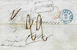 "1852- Letter From Christiana To Cette ( South Of France ) Rating : 22 D. + DANEMARCK Framed +""  Franco  Dank Grandse "" - Lettres & Documents"