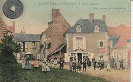 72 - Carte Postale Ancienne De  La Chapelle Huon  Place De L'Eglise     ( A Voyagé ) - Other Municipalities