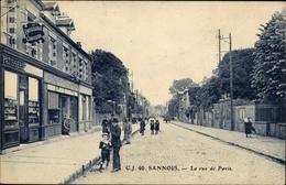 Cp Sannois Val D'Oise, La Rue De Paris, Patisserie - France