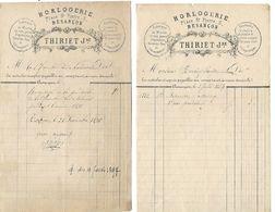 3 Factures 1884-86 / 25 BESANCON / Fabrique Horlogerie THIRIET, Montres, Pendules Bronze - 1800 – 1899