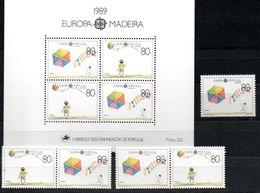 Portugal - Madeira 125 I, Block 10 + Zdr. 125 II/126 + 126/125 II ** Europa CEPT 1989 - 1989