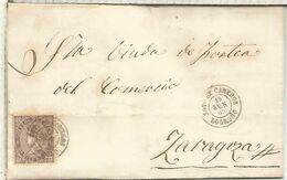 SOTO DE CAMEROS LA RIOJA A ZARAGOZA 1869 ISABEL II - Cartas