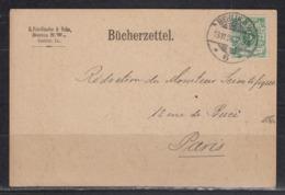 Dt.Reich Bücherzettel Ab Berlin 13.11.96 Nach Paris EF 46 - Briefe U. Dokumente