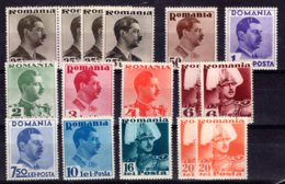 Romania / Rumänien  Michel #  489 : 506 **  Kleine Sammlung - 1918-1948 Ferdinand, Charles II & Michael