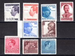 Romania / Rumänien  Michel #  625 - 30 ** - 1918-1948 Ferdinand, Charles II & Michael