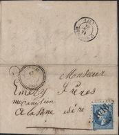 Savoie 73 Napoléon Dentelé YT 22 GC 1016 + CAD Perlé T22 Chindrieux 13 1 65 + Boite Rurale B De Chanaz - Postmark Collection (Covers)