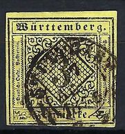 ALLEMAGNE Würtemberg 1851: Le Y&T 2  Obl. CAD Stuttgart 1856 - Wuerttemberg