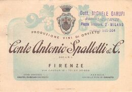"""09237 """"CONTE ANTONIO SPALLETTI & C. - FIRENZE - PRODUZIONE VINI DI ORVIETO"""" CARTONCINO PUBBLIC. ORIG. - Visiting Cards"""