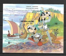 Disney Sierra Leone 1987 Canadian Landmarks Newfoundland Vikings MS MNH - Disney