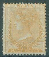 MALTA - MH/* - 1875 - VICTORIA 1/2p. WATERMARK CC PERF 14 - Yv 3  - Lot 21859 - Malta (...-1964)