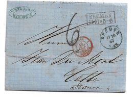 Bre007 / BREMEN - Kasten- Und Rundstempel 1867 Nach Cette/Frankreich - Bremen