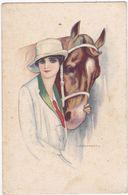 Illustrateurs : NANNI : Lady - Fräu - Femme Et Son Cheval  : Art Nouveau - Nanni