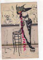 ILLUSTRATEUR NAILLOD- FEMME ELEGANTE ART NOUVEAU-GIRL WOMAN- CHAPEAU - BAR TABOURET CIGARE BAS - Naillod