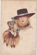 Illustrateurs : NANNI : Lady - Fräu - Femme à Chapeau Et Son Chien : Art Nouveau - Nanni
