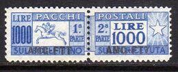 TRIESTE A 1954 AMG-FTT SOPRASTAMPATO D'ITALIA ITALY OVERPRINTED PACCHI POSTALI LIRE 1000 CAVALLINO MNH - Paketmarken/Konzessionen