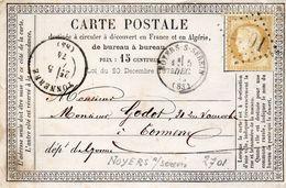 G.C.2701 NOYERS SUR SEREIN Le 5/12/74 ° TONNERRE Sur Carte Précurseur. - Postmark Collection (Covers)