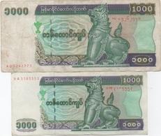 Myanmar : Paire De 2 Billets 1000 Kyats : Mauvais état / Bon état - Myanmar