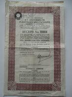 NV Bantamsche Plantagen Maatschappij - Recepis Voor Een Bawijs Van Een Aandeel - 1937 - Agriculture