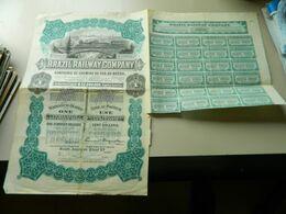 ACTION 100 DOLLARS  BRAZIL RAILWAY COMPANY CIE DE CHEMINS DE FER AU BRESIL (SIEGE SOCIAL PORTLAND) - Chemin De Fer & Tramway