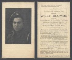 Belgique - Mortuaire : Willy Blomme (militaire Brigade Piron) Watervliet 17/4/1925 - Leopoldsburg 13/3/1945 - Todesanzeige