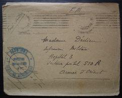 1919 Lettre Du Lieutenant André Bloquel Commission De Gare De Toulouse Pour Belgrade Armée D'Orient  S.P 510 A Hôpital - Guerre De 1914-18