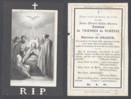 Belgique - Mortuaire : Dame Astérie-Albertine-Thérèse-Ghislaine Comtesse De Thiennes De Rumbeke Née Baronne De Draeck - Todesanzeige