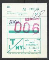 Hungary, Bekescsaba, Monthly Bus Ticket, '80s. - Week-en Maandabonnementen