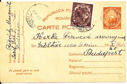 Romania Uprated Postal Stationery Carte Postale Sent To Hungary 7-7-1952 - Covers & Documents