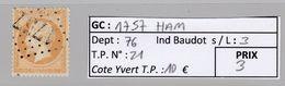 GC 1757 Ham ( Dept 76 ) S / N° 21 - Marcophily (detached Stamps)