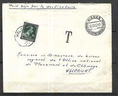 BELGIQUE  Lettre   Taxée   1957 Port Payé Par Le Destinataire De Nismes Pour Valcourt - Belgique