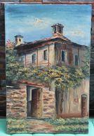 Tableau Peinture à L'huile Signée Du Peintre Suisse Tessinois A. Busnelli Casa Rustica Ticinese Maison Tessin - Huiles