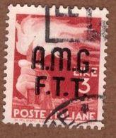 AMGFTT016 AMG-FTT  1947 SERIE DEMOCRATICA SOPRASTAMPATA LIRE 3 SASSONE NR 5 USATO - Usati