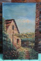 Tableau Peinture à L'huile Signée Du Peintre Suisse Tessinois A. Busnelli Rustica Ticinese Maison Tessin - Huiles
