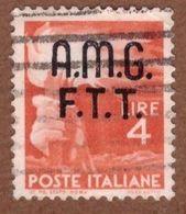AMGFTT018 AMG-FTT  1947 SERIE DEMOCRATICA SOPRASTAMPATA LIRE 4 SASSONE NR 6 USATO - Usati