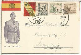 GUERRA CIVIL BURGOS A DANZIG 1937 TARJETA PATRIOTICA FRANCO - 1931-Today: 2nd Rep - ... Juan Carlos I