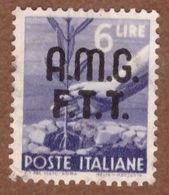 AMGFTT021 AMG-FTT  1947 SERIE DEMOCRATICA SOPRASTAMPATA LIRE 6 SASSONE NR 8 USATO - Usati