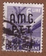 AMGFTT024 AMG-FTT  1947 SERIE DEMOCRATICA SOPRASTAMPATA LIRE 6 SASSONE NR 8 USATO - Usati