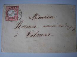 ALSACE - Sélestat - SUPERBE Enveloppe Avec Oblitération Fer à Cheval De SCHLETTSTADT Le 19/10/1872 Pour Colmar - Elzas-Lotharingen