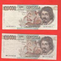 100 Mila 100.000 100000 Lire Caravaggio I° Tipo 1985 Stevani + 1990 Speziali - [ 2] 1946-… : Repubblica