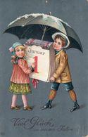 DC1058 - Neujahr Kinder Motiv Glück Präge-Karte Mädchen Und Junge - Año Nuevo