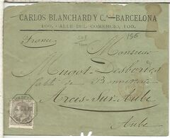 ALFONSO XII BARCELONA A AUBE MAT AMBULANTE A PORT BOU 1880 - 1875-1882 Royaume: Alphonse XII