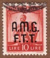 AMGFTT033 AMG-FTT  1947 SERIE DEMOCRATICA SOPRASTAMPATA LIRE 10 SASSONE NR 11 USATO - Usati