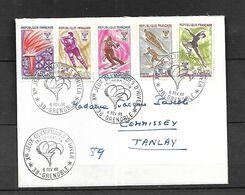 France  Lettre Du 06 02 1968 Inauguration Des J O  De Grenoble  Pour Tanlay1 - 1944-45 Maríanne De Dulac