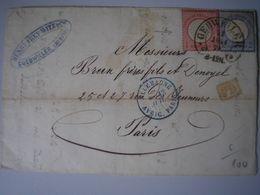 ALSACE - Guebwiller - LAC Avec Oblitération Fer à Cheval De Gebwiler Le 11/07/1874 Pour Paris -Cachet D'entrée Bleu + PD - Alsace Lorraine