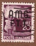 AMGFTT036 AMG-FTT  1947 SERIE DEMOCRATICA SOPRASTAMPATA LIRE 20 SASSONE NR 13 USATO - Usati