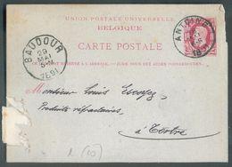 E.P. Carte 10 Centimes Carmin S/bleu, Obl. Sc ANTOING (verso : Repiquage MANUFACTURE ROYALE DU NORD CARREAUX PLINTHES A - Enteros Postales