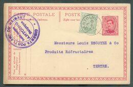 E.P. Carte 10 Centimes Carmin S/crème + Tp N°137, Obl. Sc ANTOING (cachet Violet : CIMENTS PORTLAND DU HAINAUT S.A. ANTO - Entiers Postaux